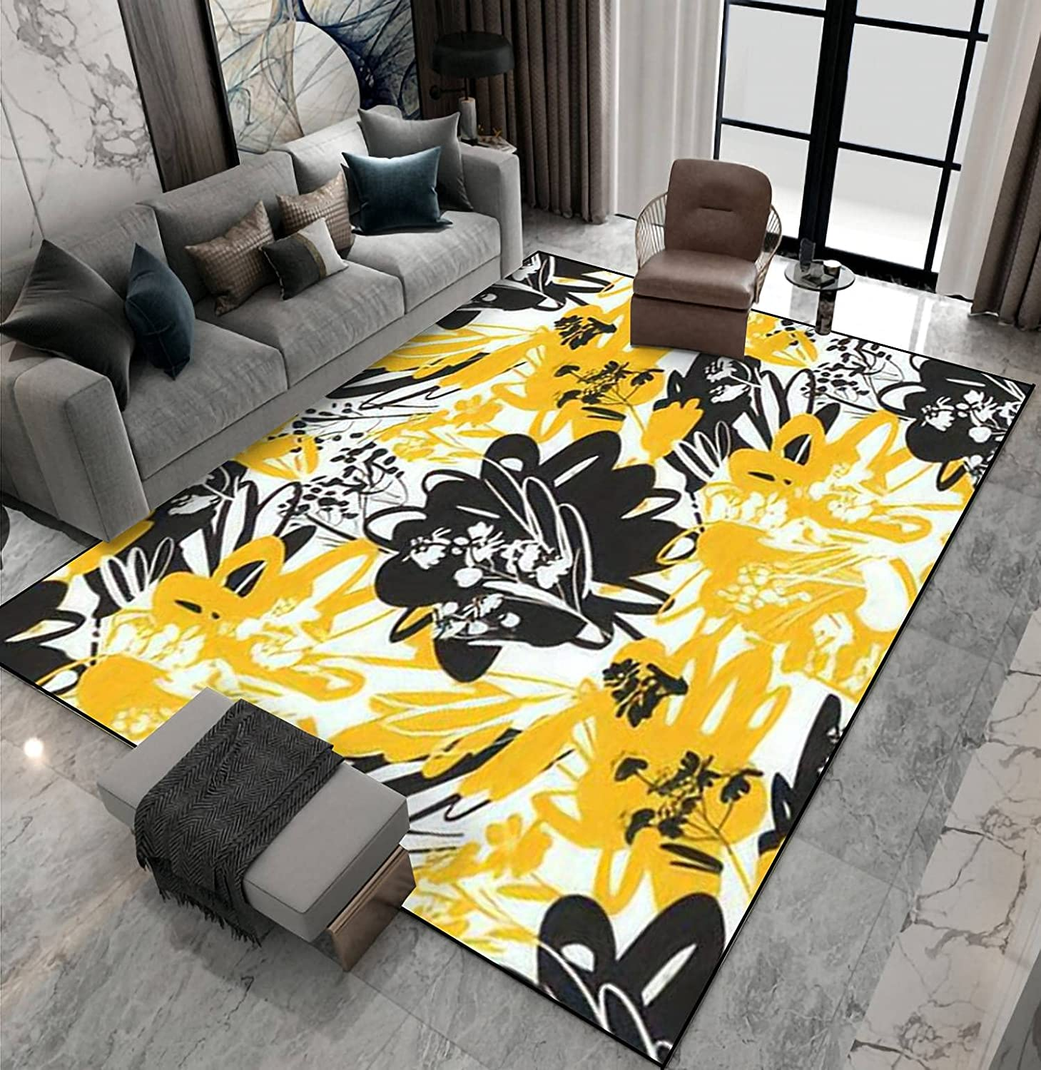 Area Rug Non-Slip Floor Mat Hot Flo Summer Yellow Fees free Mood Black and Super Special SALE held