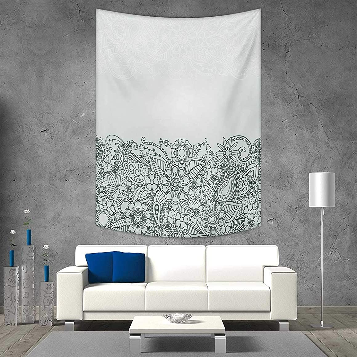 smallbeefly Henna Tapestry Wall Hanging 3D Printing South Asian Body Paint Design Floral Arrangement Various Wildflowers Leaves Beach Throw Blanket 57W x 74L INCH Green White