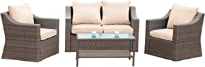 5 Piece Outdoor Patio Conversation Furniture Sets, Stamo All Weather PE Rattan Wicker Cushioned Sectional Sofa Chairs with Glass Coffee Table, Beige Cushions