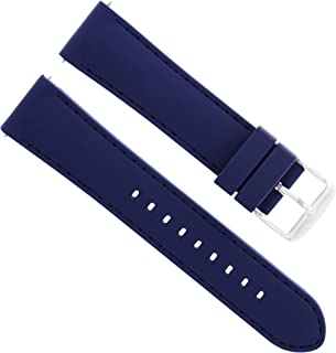Ewatchparts 20MM Soft Rubber Diver Watch Band Strap for LONGINES Blue 5P