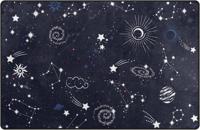 U Life Stars Moon Sun Galaxy Space Nebula Constellation Large Doormats Area Rug Runner Floor Mat Carpet for Entrance Way Living Room Bedroom Kitchen Office 80 x 58 Inch