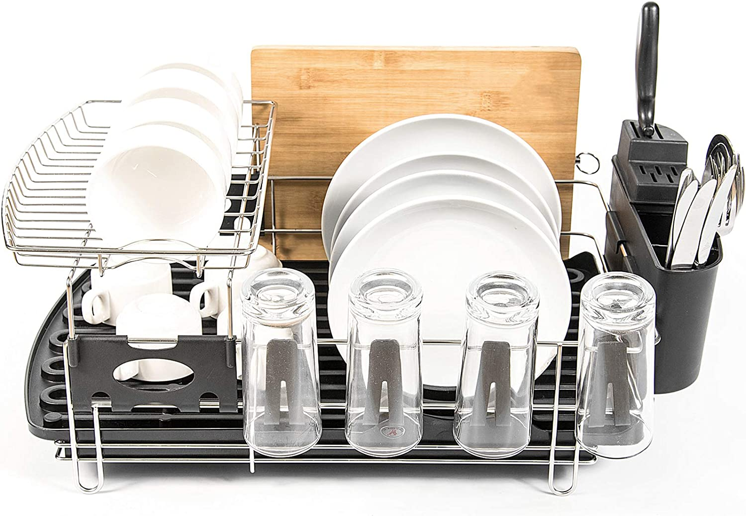 Dish Drying Rack with Max 65% OFF Drainboard Kit Stainless 304 Steel 2-Tier Opening large release sale