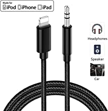 Aux Cable for Car for iPhone 7/7Plus/8/8Plus/X/XS/11 Jack to 3.5mm Male Audio Adapter for Headphones Jack Cable Aux Cord for Car Stereo, Headphone, Speaker Compatible with All iOS Systems 3.3ft-Black