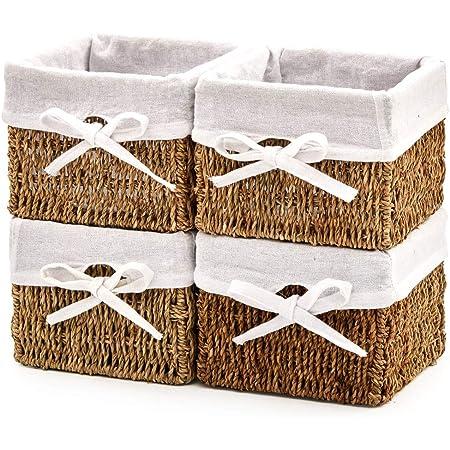 EZOWare Panier de Rangement de Seagrass Naturel en Herbier Marin avec Doublure en Lin pour Cuisine, Salle de Bain, Chambre à Coucher, Décor à la Maison - Paquet de 4, 18 x 18 x 14 cm