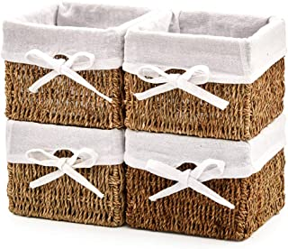 EZOWare Set of 4 Natural Woven Seagrass Wicker Storage Baskets Shelf Organizer Container Bins with Linen Liner - Brown