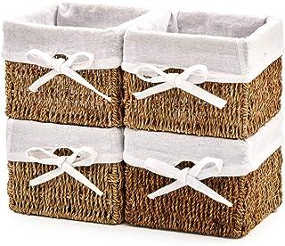 EZOWare Panier de Rangement de Seagrass Naturel en Herbier Marin avec Doublure en Lin pour Cuisine, Salle de Bain, Chambre...