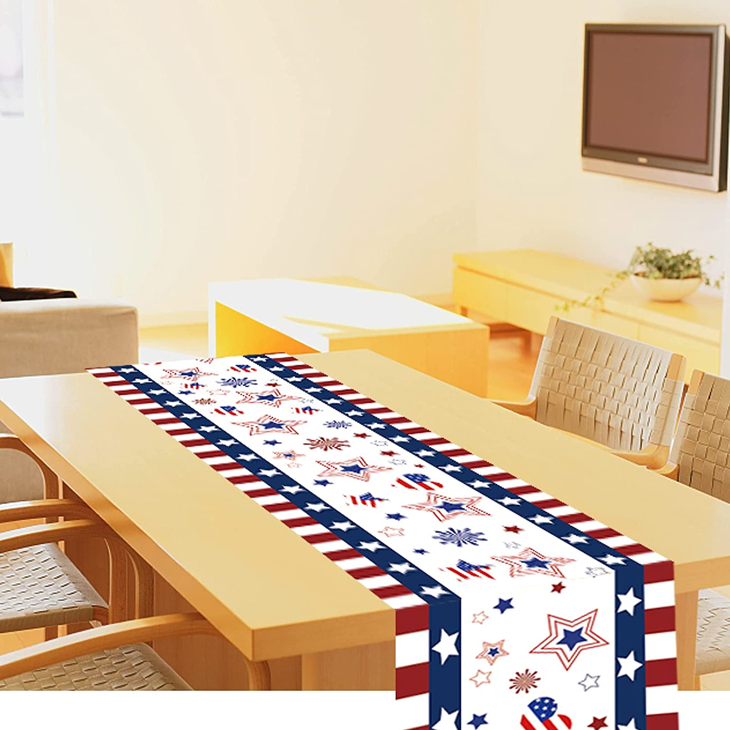 Oringaga Fourth of July Party Table Runner Star Tablecloth - 4th of July Patriotic Birthday Party Decoration Supplies Home Decor Red White Blue Table Cloth(12 x 72 Inch)