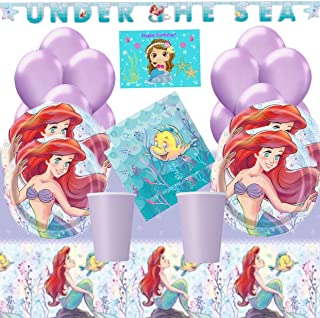 The Little Mermaid Ariel Party Supplies Kit for 16 - Little Mermaid Plates, Table Cover, Napkins, Birthday Banner, Cups, Balloons and Birthday Card by JPMD