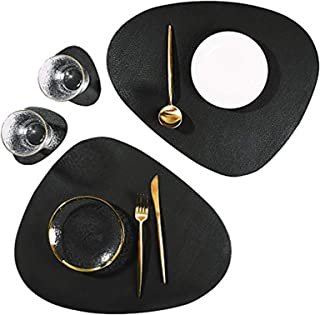 Leather Placemats and Coasters Set, Washable Round Table Mat, Waterproof Coffee Mats, Heat-Resistant Place Mat for Kitchen...