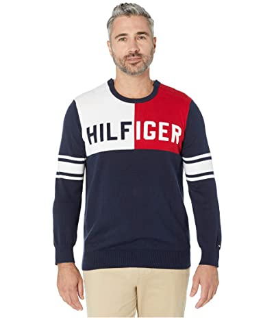 Tommy Hilfiger Adaptive Sweater with Magnetic Buttons at Shoulders (Navy Blazer Multi) Men