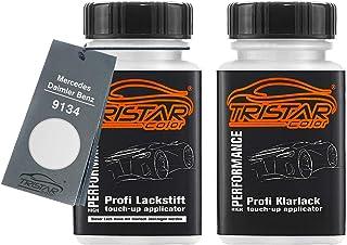 TRISTARcolor Autolack Lackstift Set für Mercedes/Daimler Benz 9134 Bergkristallweiss Metallic Basislack Klarlack je 50ml