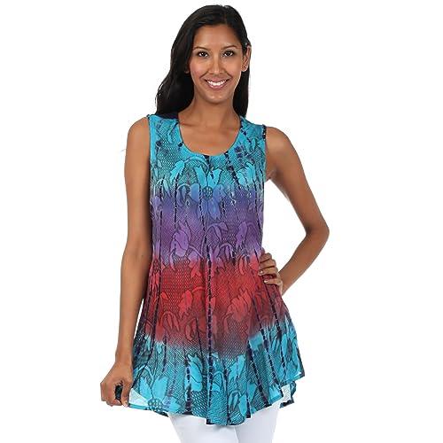 199e32b78f060a Sakkas Ombre Floral Tie Dye Flared Hem Sleeveless Tunic Blouse