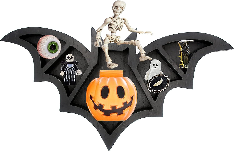 Spooky Decor Bat Wall Shelf - Bats Halloween Decor for Bedroom - Men Kids Batman Gifts