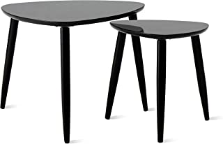TaoHFE Nesting Table Coffee Tables for Living Room End Side Tables Sturdy and Environmental Material Durable Triangle Nesting Table Set (Set of 2, Black)