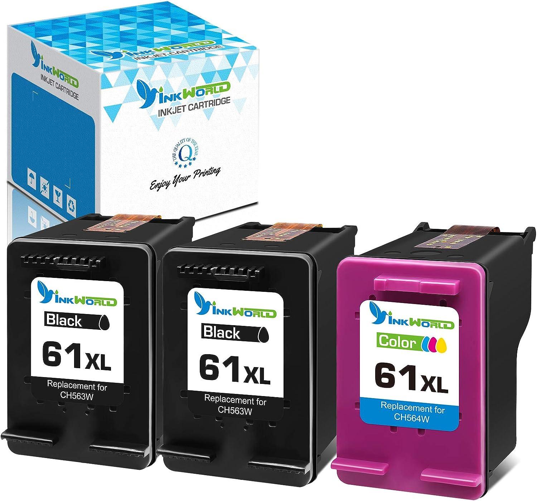 Inkworld Remanufactured 61XL Ink Cartridge Replacement for HP 61 3-Pack for Envy 4500 4502 5530 DeskJet 2512 1512 2542 2540 2544 3000 3052a 1055 3051a 2548 OfficeJet 4630 Printer (2 Black,1 Color)