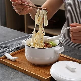 Salad Bowls Ceramic instant noodle bowl with handle noodle bowl mala Tang soup bowl salad bowl (Color : Blue)