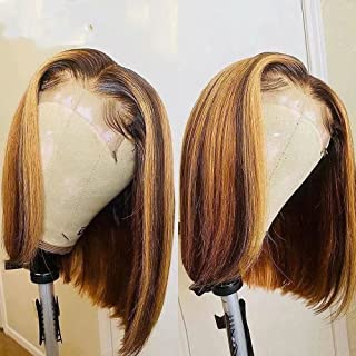 Highlight Wig Human Hair Bob Wigs Straight HD Transparent 13x6 Lace Front Human Hair Wigs Brazilian Remy Colored Short Bob...
