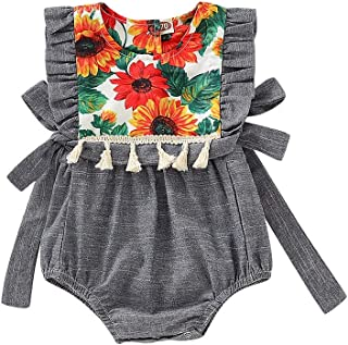 Weixinbuy Girls Clothes A-line Ruffled Party Dresses Crewneck Floral Romper Sister Matching Outfit
