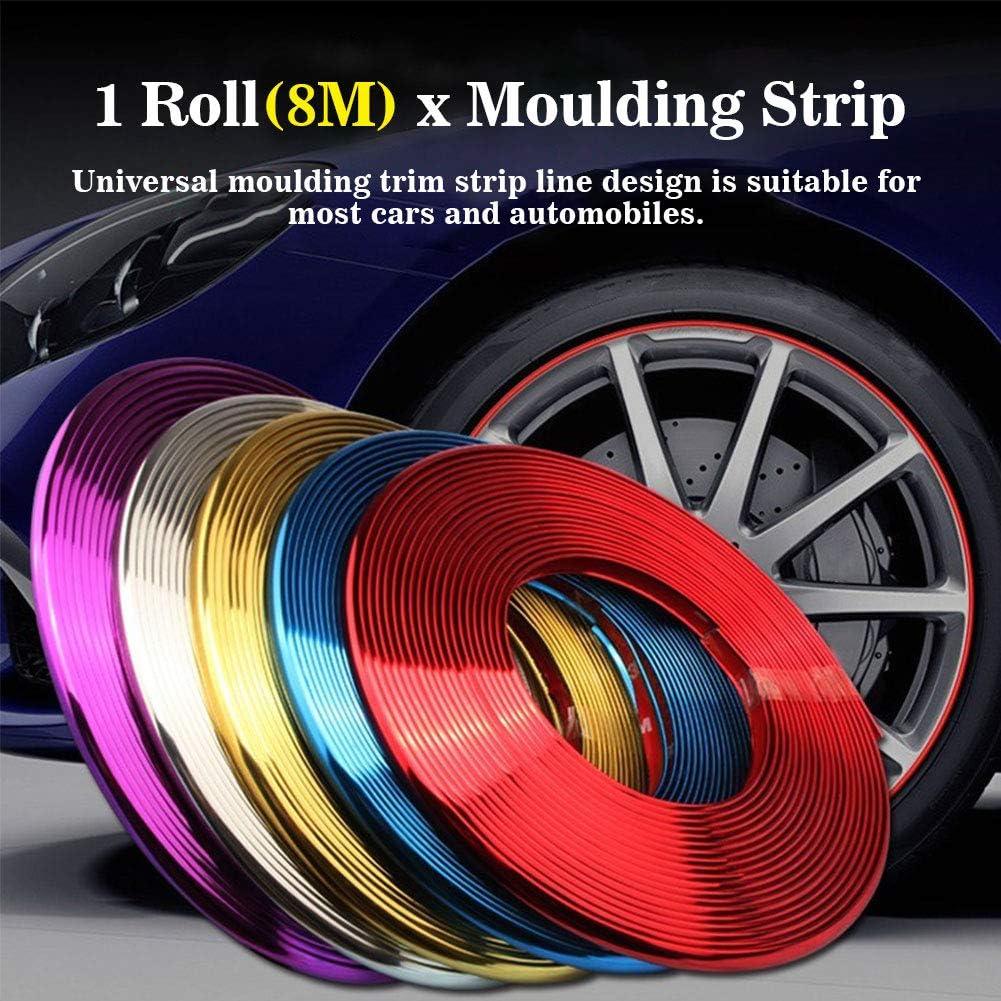 Xpccj borde de la tira de molduras cinta adhesiva para decoraci/ón interior del coche 8 m detalles cromados de coche borde de rueda de coche Tira de moldura universal para rueda de coche