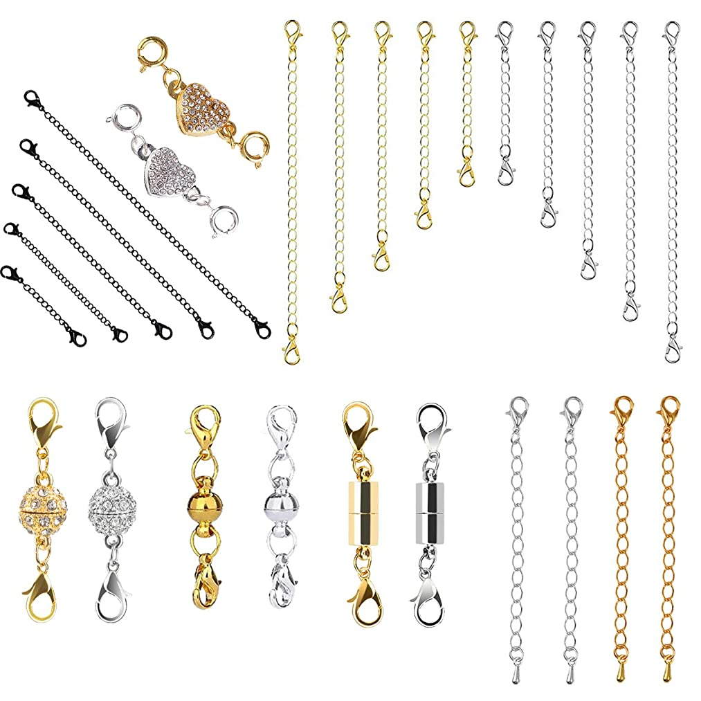 ECRAB 31 Pcs Magnetic Lobster Clasps Jewelry Clasps and Chain Extenders for Jewelry Necklace Bracelet, Jewelry Making Supplies