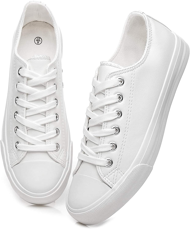 Women's Tennis Walking Shoes Black Non Slip Fashion Sneakers Comfortable White Canvas Shoes
