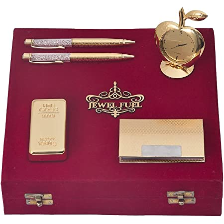 JEWEL FUEL Corporate Diwali Gift Set of 2 Gold Plated Pen, Gold Bar Paper Weight, Apple Table Clock and Visiting Card Holder Gift Set