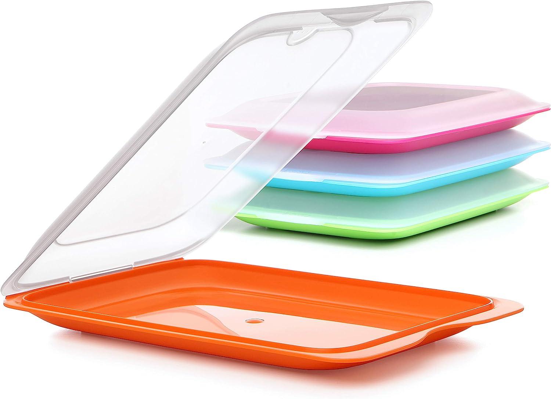 Tatay Set 4 portaembutidos, con Tapa y Cuerpo desmontados, en Cuatro Colores, Reutilizables y apilables, Fabricados en plástico Libre de BpA
