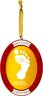 Lil Peach Baby's Print Handprint or Footprint Double-Sided Holiday Photo Ornament Kit with Included Paint, Red/Gold
