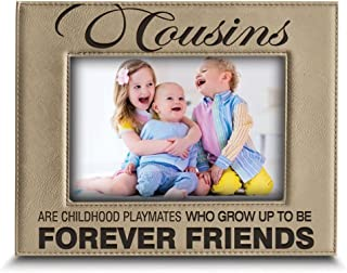 BELLA BUSTA -Cousins-Forever Friend Picture Frame-Great Gift for Best Cousin Birthday for Cousin -Engraved Leather Picture Frame (4