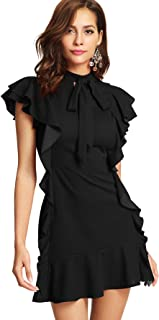 Women's Tie Neck Short Sleeve Ruffle Hem Cocktail Party Dress