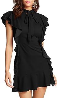 Women's Tie Neck Short Sleeve Ruffle Hem Cocktail Party Dress