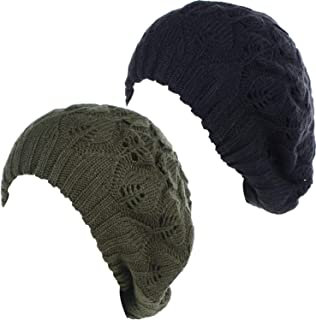 Be Your Own Style BYOS Winter Chic Warm Double Layer Leafy Cutout Crochet Chunky Knit Slouchy Beret Beanie Hat Solid