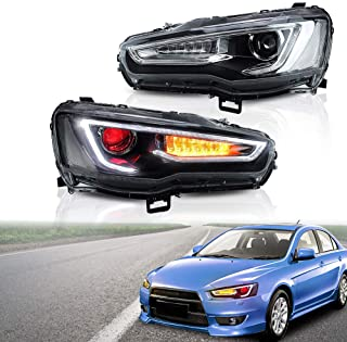 CDG 2PCS Headlights Assembly For 2008-2017 Mitsubishi Lancer/Evo X Head lamps Lights Blackout Dual Beam Lens With Red Demon Eyes