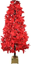 Northlight 4' Pre-Lit Fiber Optic Color Changing Red Poinsettia Christmas Tree,