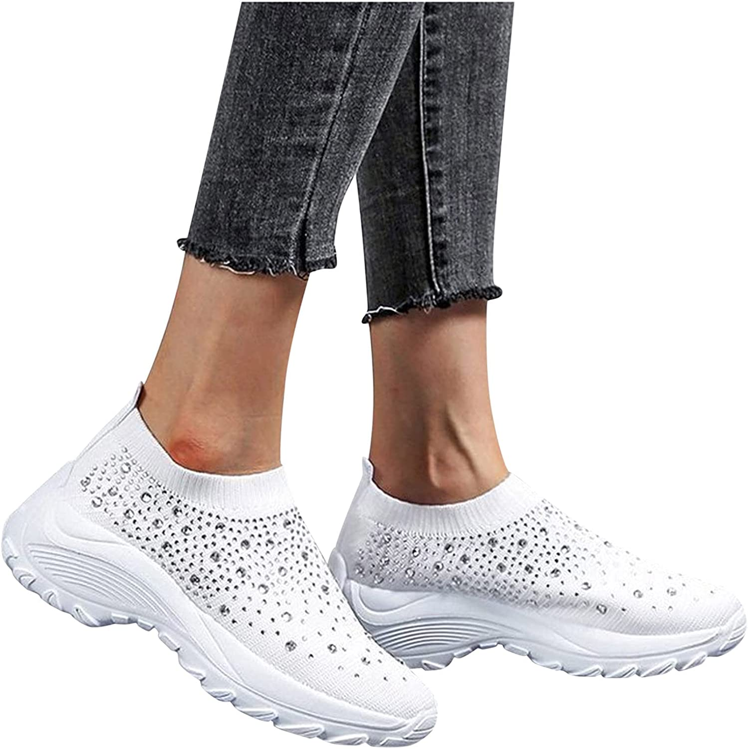 Gibobby Womens Sandals Sneakers for Women Slip On Running Shoes Mesh Breathable Sports Shoes Casual Summer Walking Shoes