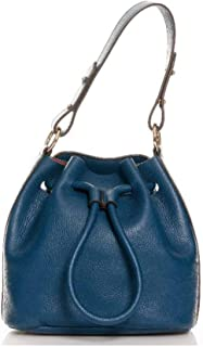 Genuine leather bag, fashionable, medium, blue, for shoulders, women's. 100% Made in Italy