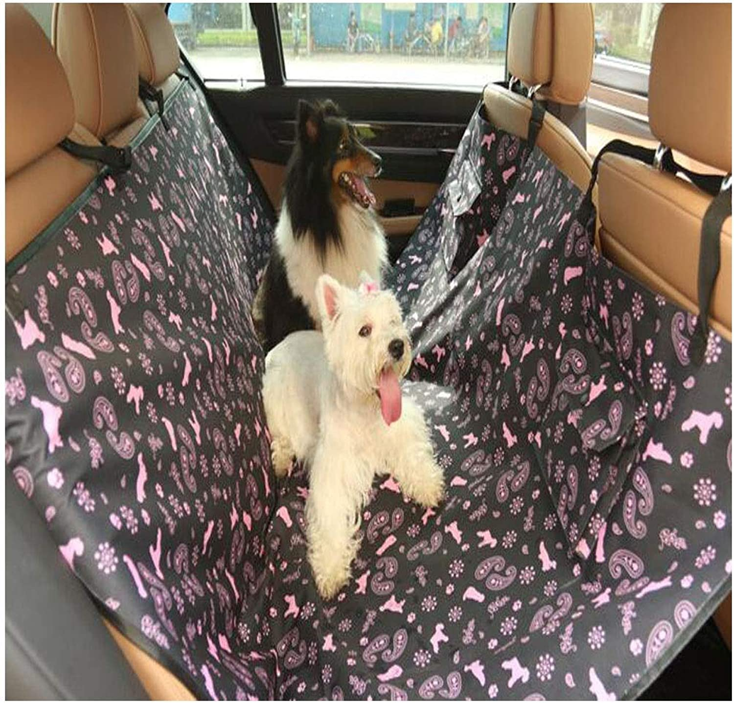 Dog Seat Cover, Dog Booster Seat Car Rear Seat Hammock, Anti-Slip Safety Seat, Foldable Dog Bed, Brown, Black (color   Black)