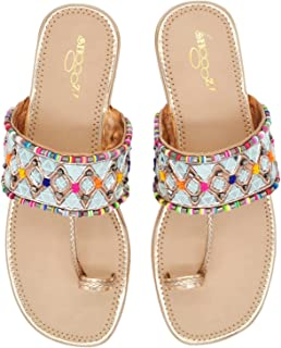 Fashionable Girl's Slip on Embroidered Ethnic Flat Sandals (Sultan, numeric_5) UK Size 5