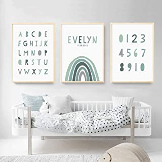 Pintura en lienzo personalizada Nombre del bebé Fecha de nacimiento Arco iris Arte de la pared Póster Imprimir imágenes Re...