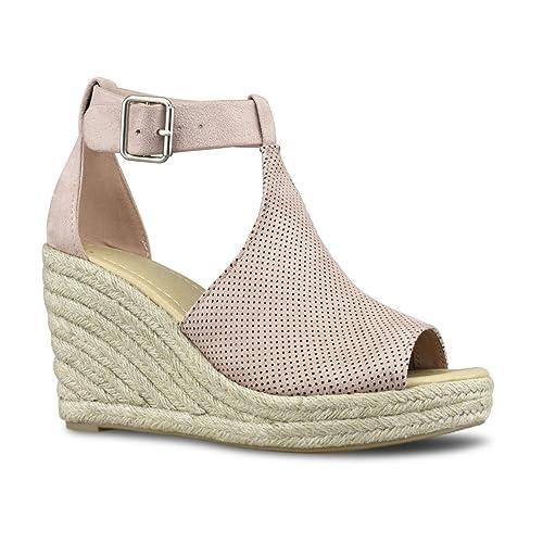 Premier Standard Womens Peep Toe Ankle Strap Buckle Espadrille Wedge Sandals