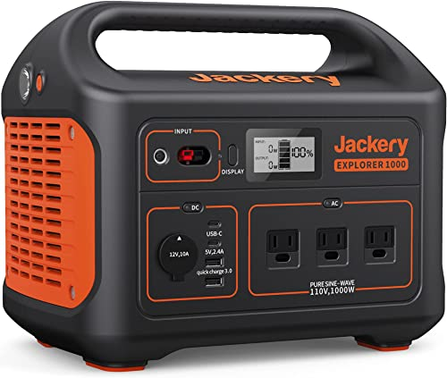 Jackery Portable Power Station Explorer 1000, 1002Wh Solar Generator (Solar Panel Optional) with 3x110V/1000W AC Outl...