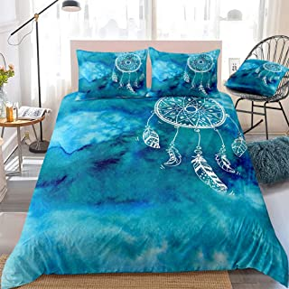 Blue Ocean Bedding Set Bohemian Dream Catcher Bedding Sea Ocean Soft Watercolor Duvet Cover for Boys and Girls Microfiber ...