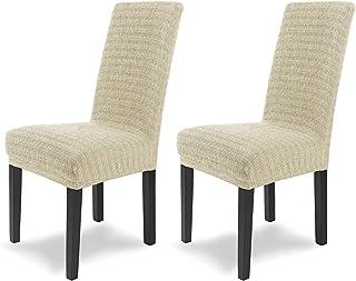 comprar comparacion SCHEFFLER-Home Anna 2 Fundas de sillas, Estirable Cubiertas, Moderna extraíble flexibel Funda con Banda elástica, Marfil