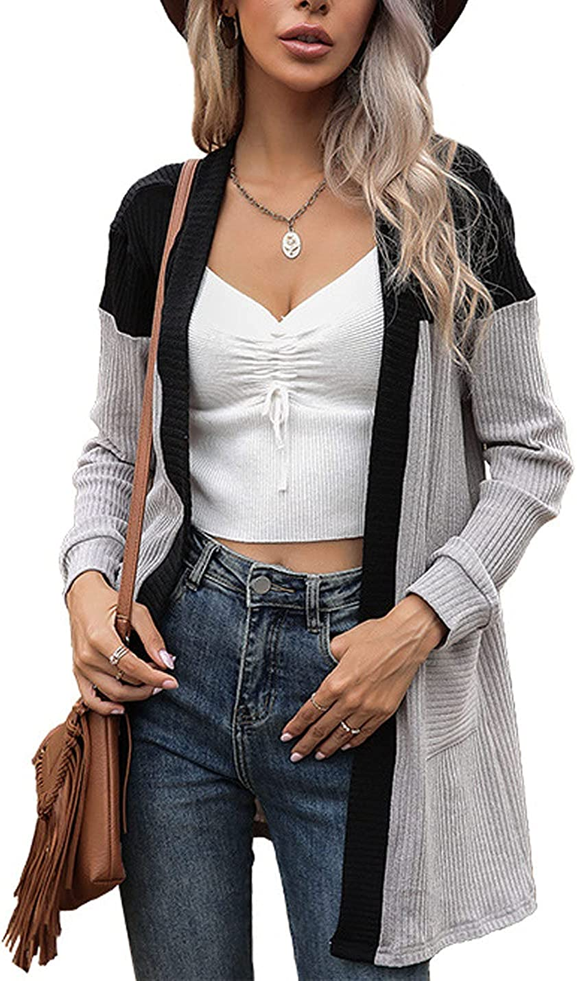 Peaceglad Womens Long Sleeve Shrug Knit Cardigan Sweaters Open Front Casual Knitted Sweater Coat with Pockets