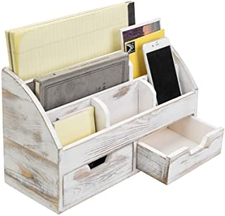 $39 » MyGift 6-Compartment Shabby Whitewashed Wood Desktop Office Supplies Organizer with 2 Drawers