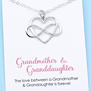 Grandmother & Granddaughter • Infinity Heart Pendant • Unique Gift for Grandma • Infinite Love • Sterling Silver • Personalized Keepsake Jewelry