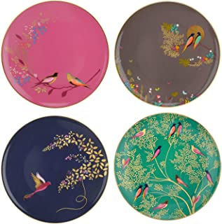 Sara Miller London for Portmeirion Chelsea Collection Plates 8 Inch Set of 4 Assorted