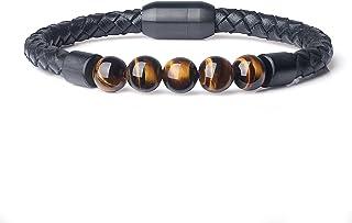 AmorWing Mens Womens Stone Mala Beads Leather Bracelet