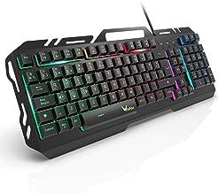 Teclado Gaming, WisFox Colorido Arco Lris LED Retroiluminaci