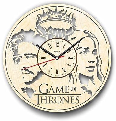 Game of Thrones ゲーム・オブ・スローンズ木製掛け時計ー完璧で美しく作られたー現代アートで自宅を飾ろうー彼と彼女にユニークなギフトーサイズ12インチ(30 ㎝)